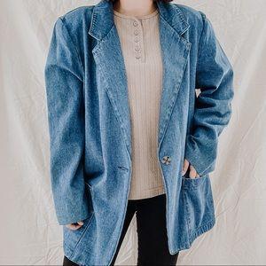 LISA JOSEPHS   Vintage Denim Oversized Blazer Jacket Sz L